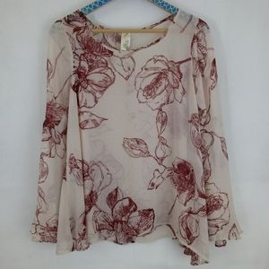 Anthropologie Semi Sheer Floral Bell Sleeve Top Sm